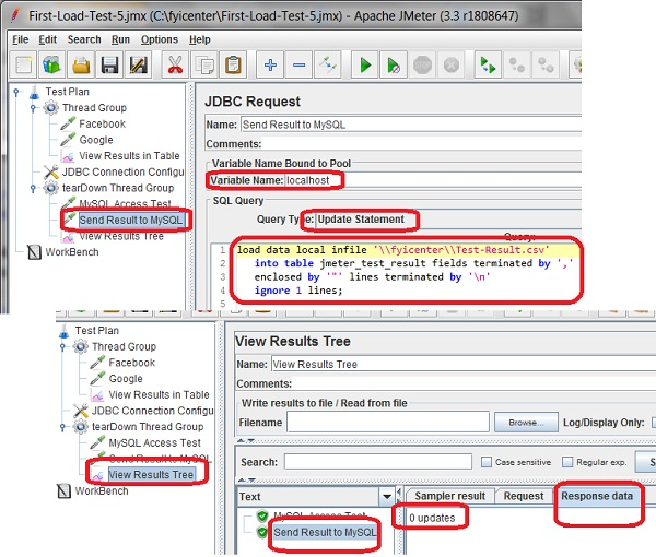 Send Result to MySQL with JDBC Request